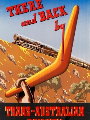 """Купить для интерьера на стену Постер """"Туда и обратно Транс-Австралийской железной дорогой"""" Австралия 1947"""