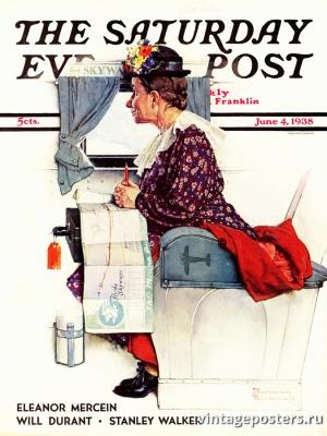 """Купить для интерьера на стену Постер """"Обложка журнала The Saturday Evening Post"""" США июнь 1938"""