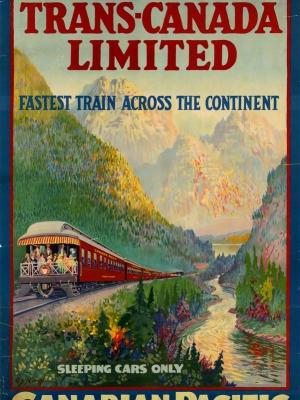 """Купить для интерьера на стену Постер """"Транс-Канада Лимитед — быстрейший поезд через континет"""" Канада 1947"""