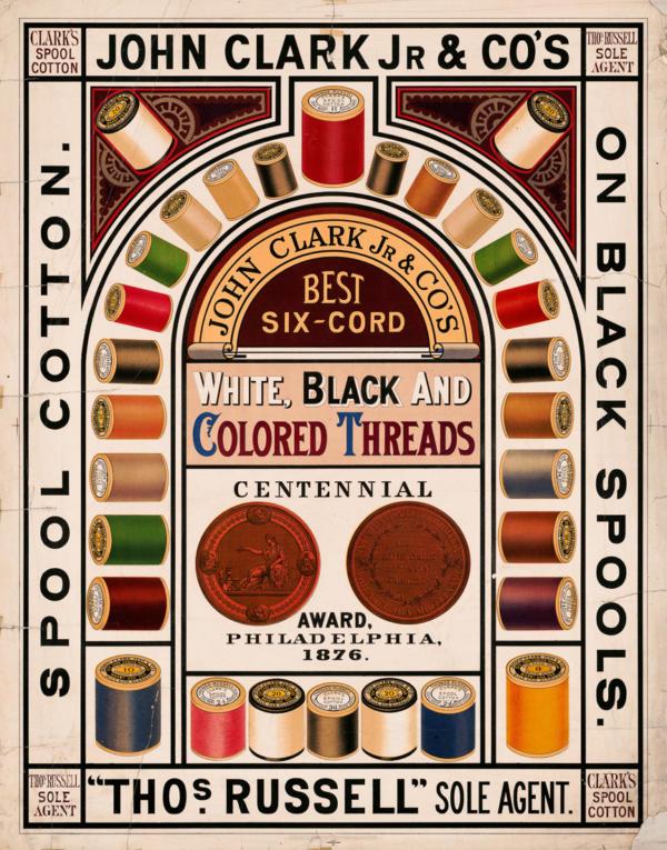 """Купить для интерьера на стену Постер """"Хлопковые нитки от Джона Кларка. Черные, белые и цветные"""" США 1876"""