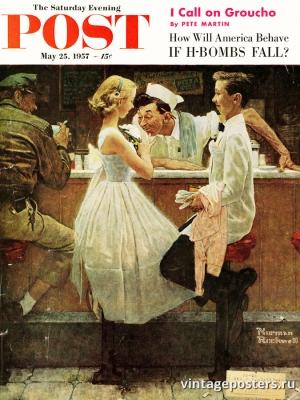 """Купить для интерьера на стену Постер """"Обложка журнала The Saturday Evening Post"""" США май 1957"""