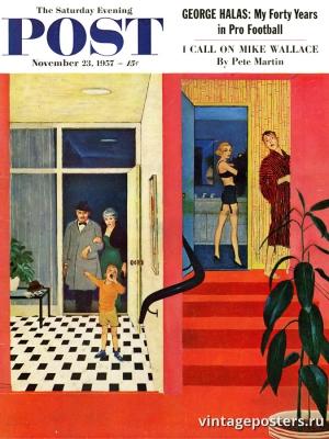 """Купить для интерьера на стену Постер """"Обложка журнала The Saturday Evening Post"""" США ноябрь 1957"""