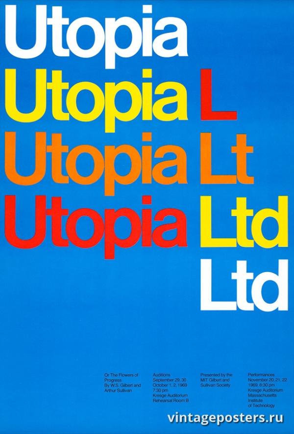 """Купить для интерьера на стену Постер """"Utopia Limited или цветы прогресса"""" США 1969"""