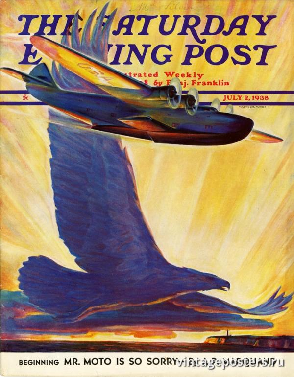 """Купить для интерьера на стену Постер """"Обложка журнала The Saturday Evening Post"""" США июль 1938"""