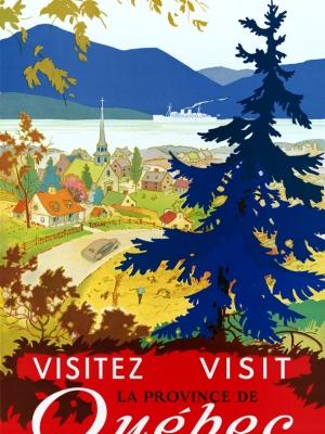 """Купить для интерьера на стену Постер """"Посетите провинцию Квебек"""" Канада 1947"""