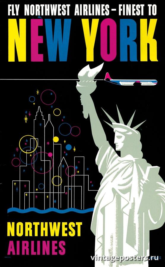 """Купить для интерьера на стену Постер """"Northwest Airlines - лучшие полеты в Нью-Йорк"""" США 1954"""