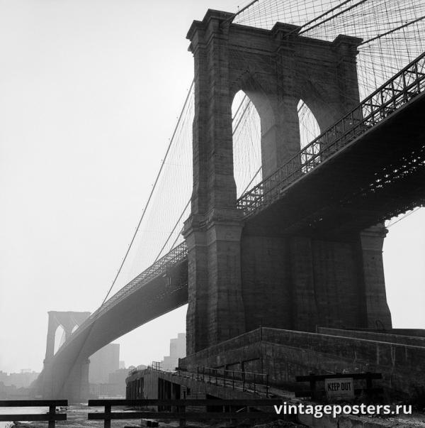 """Винтажный Ретро Постер """"Бруклинский мост"""" США 1960 для интерьера купить"""