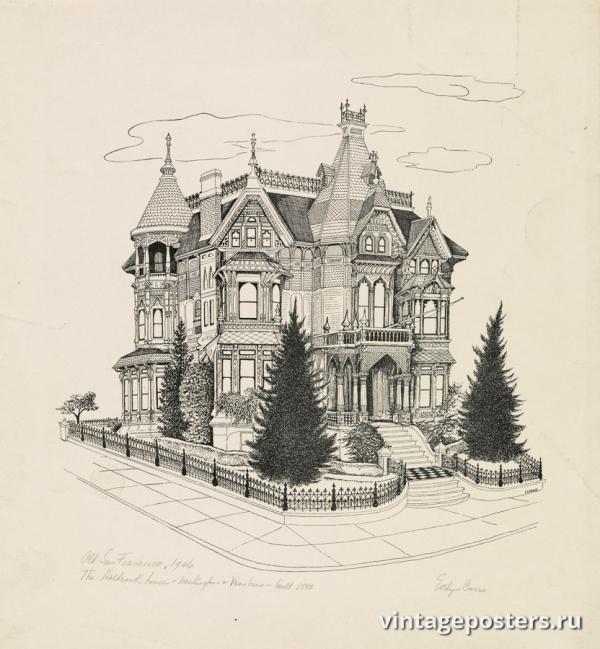 """Купить для интерьера на стену Постер """"Старый Сан-Франциско: Дом Холбрука, построен в 1885 году"""" США 1946"""
