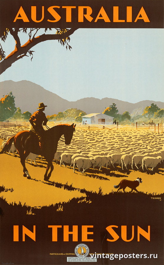"""Винтажный Ретро Постер """"Австралия в лучах солнца"""" Австралия 1930 для интерьера купить"""