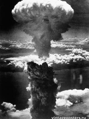 """Винтажный Ретро Постер """"«Ядерный гриб» над Нагасаки"""" Япония 1945 для интерьера купить"""