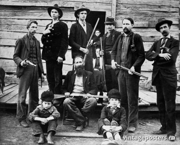 """Винтажный Ретро Постер """"Мужчины семьи Хэтфилд"""" США 1899 для интерьера купить"""