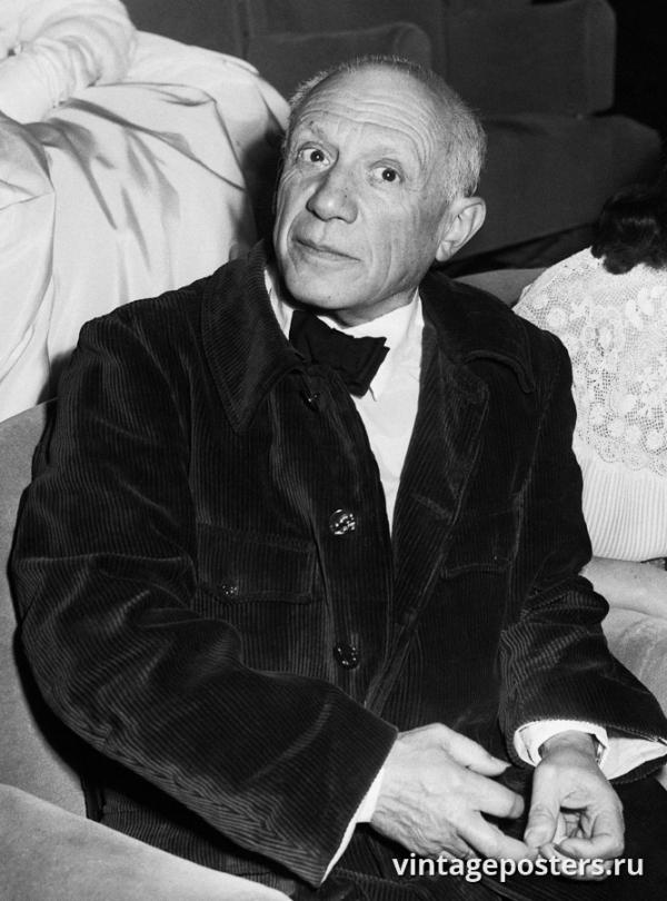 """Винтажный Ретро Постер """"Пабло Пикассо на Каннском кинофестивале"""" Франция 1953 для интерьера купить"""