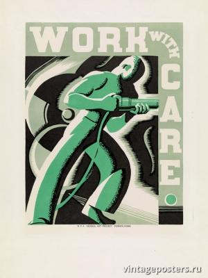 """Купить для интерьера на стену Постер """"Работайте аккуратно"""" США 1936"""