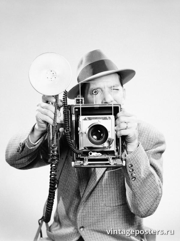 """Винтажный Ретро Постер """"Фоторепортер"""" США 1930 для интерьера купить"""
