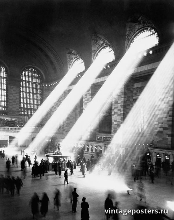 """Винтажный Ретро Постер """"Солнечные лучи на Центральном вокзале Нью-Йорка"""" США 1940 для интерьера купить"""