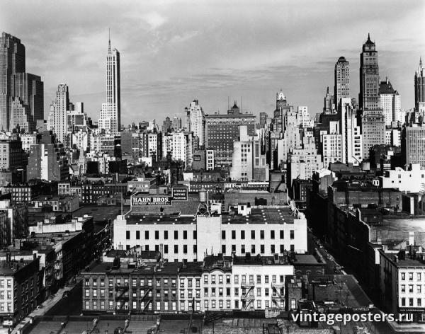 """Винтажный Ретро Постер """"Мидтаун, Нью-Йорк"""" США 1945 для интерьера купить"""