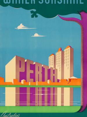 """Винтажный Ретро Постер """"Сияние зимнего солнца в Перте"""" Австралия 1950 для интерьера купить"""