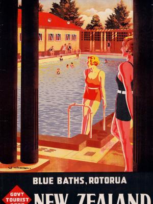 """Винтажный Ретро Постер """"Термальные источники «Blue Baths» в Роторуа"""" Новая Зеландия 1930 для интерьера купить"""
