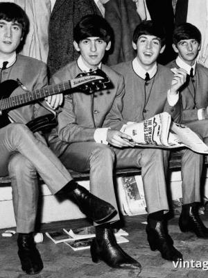 """Винтажный Ретро Постер """"Молодые «Битлз»"""" Англия 1963 для интерьера купить"""