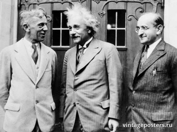 """Винтажный Ретро Постер """"Альберт Эйнштейн и два профессора из Принстона"""" США 1933 для интерьера купить"""