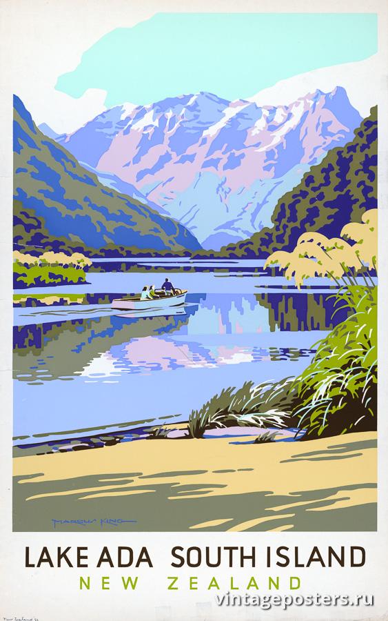 """Винтажный Ретро Постер """"Озеро Ада на Южном острове"""" Новая Зеландия 1950 для интерьера купить"""