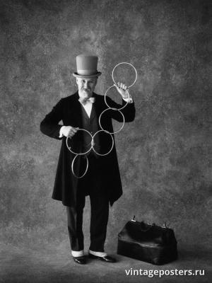 """Винтажный Ретро Постер """"Фокусник и трюк с кольцами"""" США 1985 для интерьера купить"""