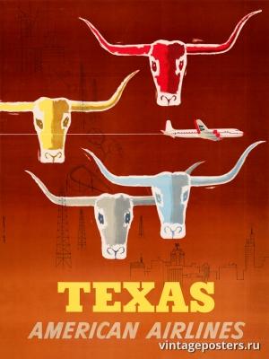 """Купить для интерьера на стену Постер """"В Техас Американскими авиалиниями"""" США 1953"""