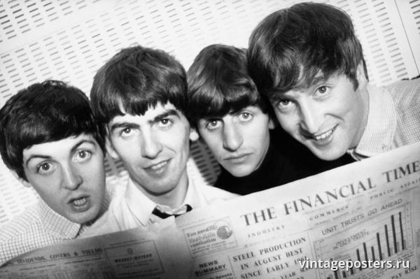 """Винтажный Ретро Постер """"«Битлз» с газетой Financial Times"""" Англия 1963 для интерьера купить"""