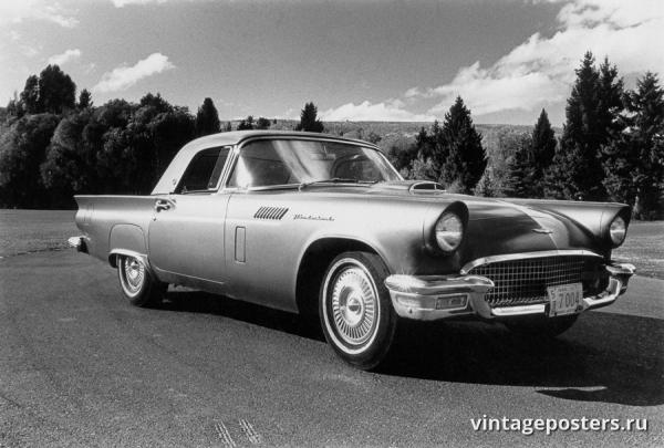 """Винтажный Ретро Постер """"Ford Thunderbird"""" США 1955 для интерьера купить"""