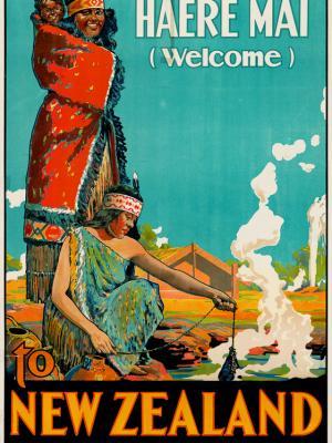 """Винтажный Ретро Постер """"Haere Mai — Добро пожаловать!"""" Новая Зеландия 1920 для интерьера купить"""