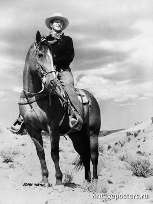 """Винтажный Ретро Постер """"Актер Джон Уэйн верхом на лошади"""" США 1939 для интерьера купить"""