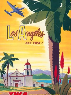 """Купить для интерьера на стену Постер """"Лос-Анджелес — летайте «TWA»"""" США 1950"""