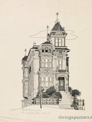"""Купить для интерьера на стену Постер """"Старый Сан-Франциско: Дом Вестерфельда, построен в 1889 году"""" США 1946"""