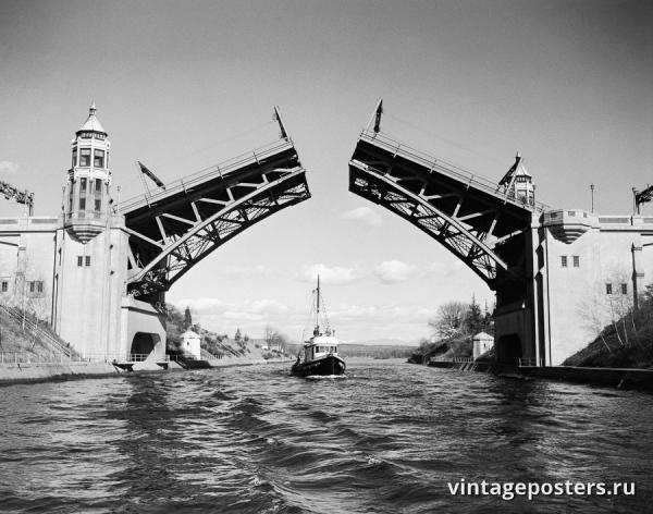 """Винтажный Ретро Постер """"Лодка проплывает под мостом Монтлейк"""" США 1960 для интерьера купить"""