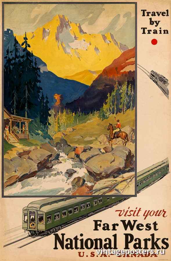 """Купить для интерьера на стену Постер """"Посетите Национальные парки на Дальнем Западе"""" США 1920"""