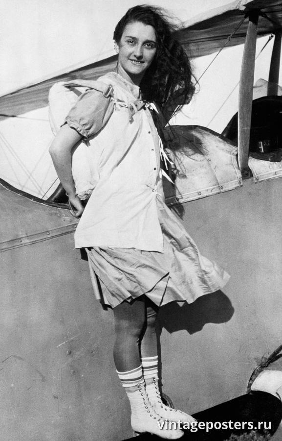 """Винтажный Ретро Постер """"Джорджия Бродвик на крыле самолета"""" США 1920 для интерьера купить"""