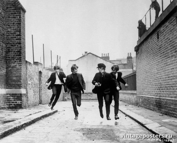 """Винтажный Ретро Постер """"«Битлз», кадр из фильма «Вечер трудного дня»"""" Англия 1964 для интерьера купить"""