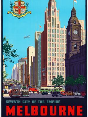 """Винтажный Ретро Постер """"Седьмой город империи, Мельбурн, Виктория"""" Австралия 1940 для интерьера купить"""