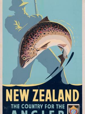 """Винтажный Ретро Постер """"Страна для рыболовов"""" Новая Зеландия 1950 для интерьера купить"""
