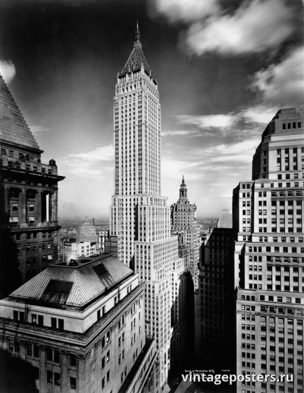 """Винтажный Ретро Постер """"Здание Банка Манхэттена"""" США 1930 для интерьера купить"""