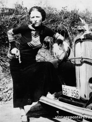 """Винтажный Ретро Постер """"Бонни Паркер с револьвером и сигарой"""" США 1932 для интерьера купить"""
