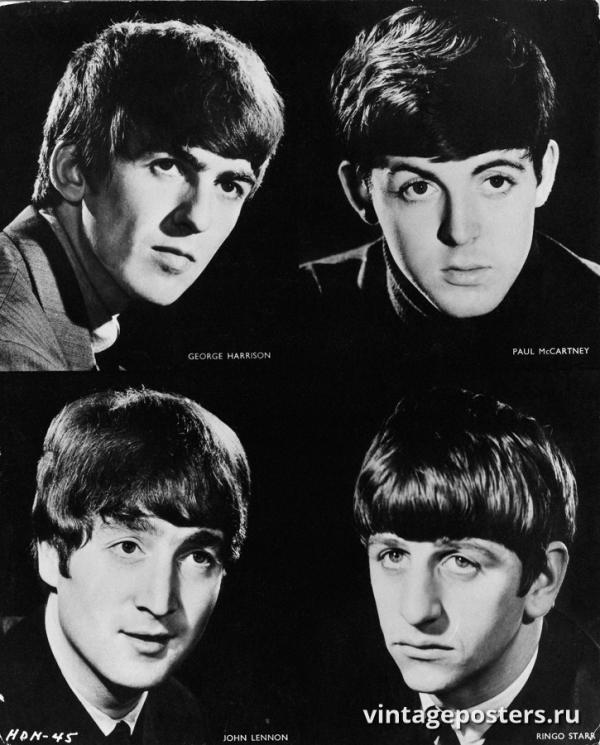 """Винтажный Ретро Постер """"Студийные портреты «Битлз»"""" Англия 1963 для интерьера купить"""