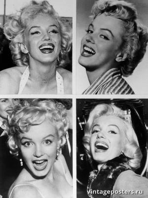 """Винтажный Ретро Постер """"Четыре портрета Мэрилин Монро"""" США 1960 для интерьера купить"""
