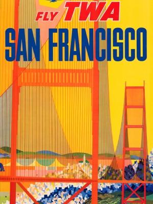 """Купить для интерьера на стену Постер """"Летайте «TWA» в Сан-Франциско"""" США 1957"""