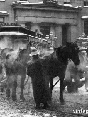 """Винтажный Ретро Постер """"Конка зимой, Нью-Йорк"""" США 1892 для интерьера купить"""