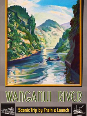 """Винтажный Ретро Постер """"Река Вангануи — живописное путешествие"""" Новая Зеландия 1930 для интерьера купить"""