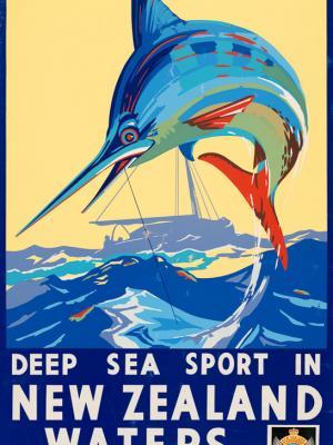 """Винтажный Ретро Постер """"Морской спорт в водах Новой Зеландии"""" Новая Зеландия 1930 для интерьера купить"""