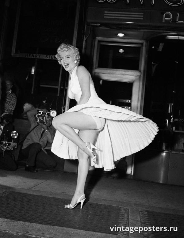 """Винтажный Ретро Постер """"Мэрилин Монро в белом платье"""" США 1954 для интерьера купить"""