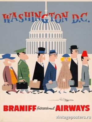 """Купить для интерьера на стену Постер """"В Вашингтон, округ Колумбия, авиалиниями Бранифф"""" США 1960"""