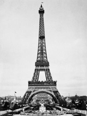 """Винтажный Ретро Постер """"Эйфелева башня во-время Всемирной Выставки 1889 года"""" Франция 1889 для интерьера купить"""